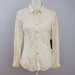 NWT BCBGMaxazria Ivory Lace Button Down Shirt